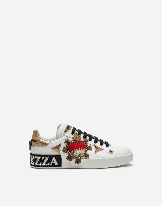 Calfskin portofino sneakers with embroidery and appliqués   Active ... 4dff9a4dd19a