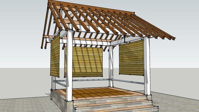 Gazebo 3x3 M2 Atap Pelana - 3D Warehouse