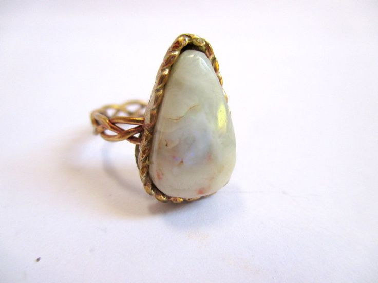Brass and blue opal pleat and rope ring by Picossa on Etsy
