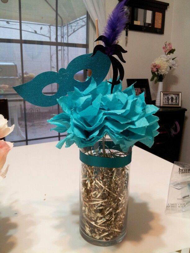 Sweet 16 Masquerade table centerpiecefor Torias bday