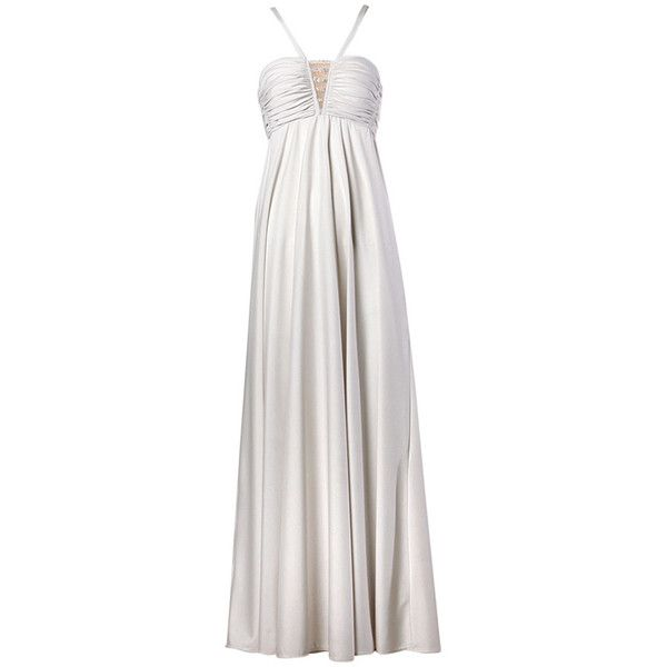 Lilli Diamond Vintage 1970s Pale Gray Beaded Empire Maxi Dress ($450) ❤ liked on Polyvore featuring dresses, beaded maxi dress, light grey maxi dress, vintage beaded dress, vintage dresses and jersey dresses