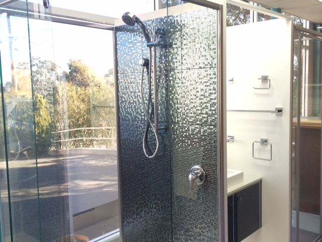 Semi-framed shower screen. On display in our showroom.