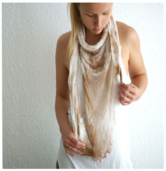 Dyed and Shredded Triangle Shawl. Wrap by MaLaMiNaKaNo