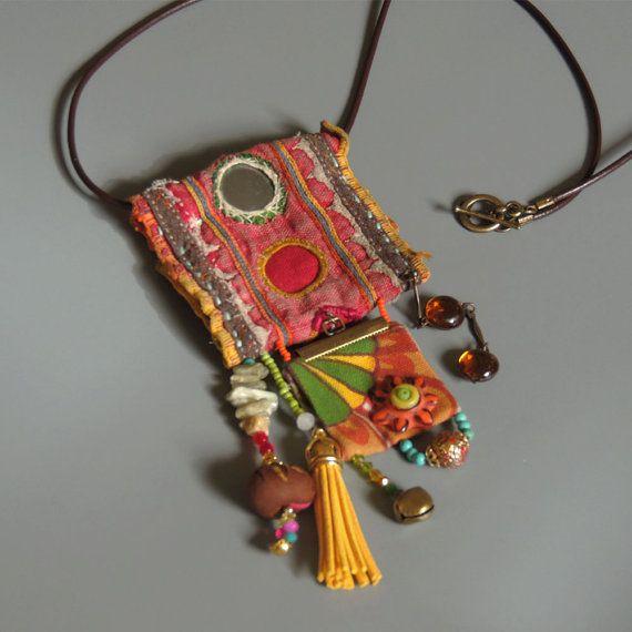 Ecofriendln Jewelry, Ethnic Jewelry, Vintage Hindu textile necklace, Tassel Statement Necklace , OOAK