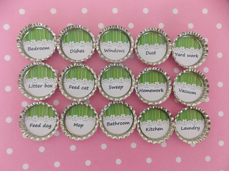 Kids Chore Magnets Bottle Cap Magnets Flowers Personalized Magnets Set Of 10 #BoutiqueChicGallery