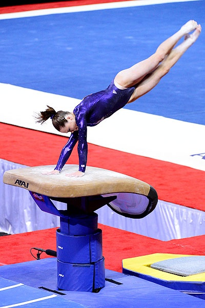 McKayla Maroney vaults during night one of the 2012 USA Gymnastics Olympic Trials.  After prelims, she led the event standings.
