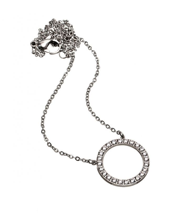 Glow necklace, stainless steel Featuring a ring with 24 Cubic Zirconia gemstones Diameter 20 mm Length 82cm