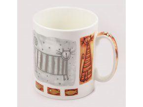 Porcelánový hrnek 750 ml - stříbrná kočka