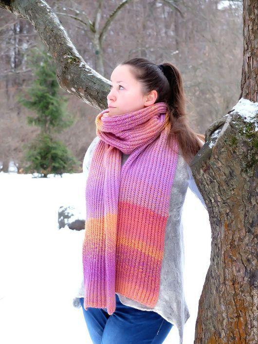 Шарфы и шарфики ручной работы. Ярмарка Мастеров - ручная работа. Купить Длинный тёплый вязаный шарф из шерсти Зимний Закат. Handmade.