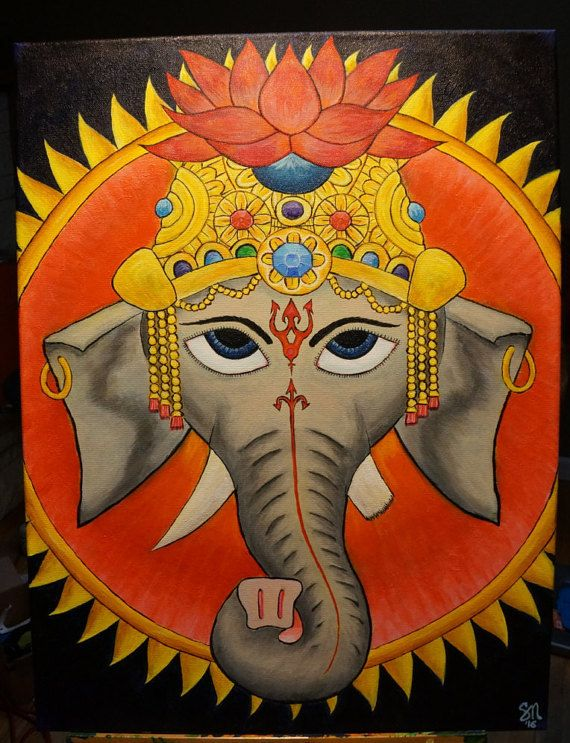 ♦ This is a depiction of the Hindu deity Ganesh ♦ Canvas size 24x18 inches. ♦ Done completely in high quality acrylic paint. ♦ A labor of love, no less than 60 hours went into creating this original painting. ♦ This is a lone original, no prints will be made. ♦ Signed and titled by the artist. ♦ Painting wraps around the edges of the canvas. ♥ Feel free to message us with any questions you may have about this painting. Or to create something custom for your wall.