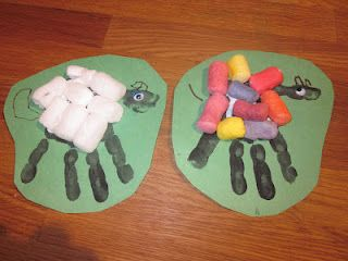 Packing peanuts glued over a handprint, would link so nicely to 'Where is the Green Sheep?' by Mem Fox.