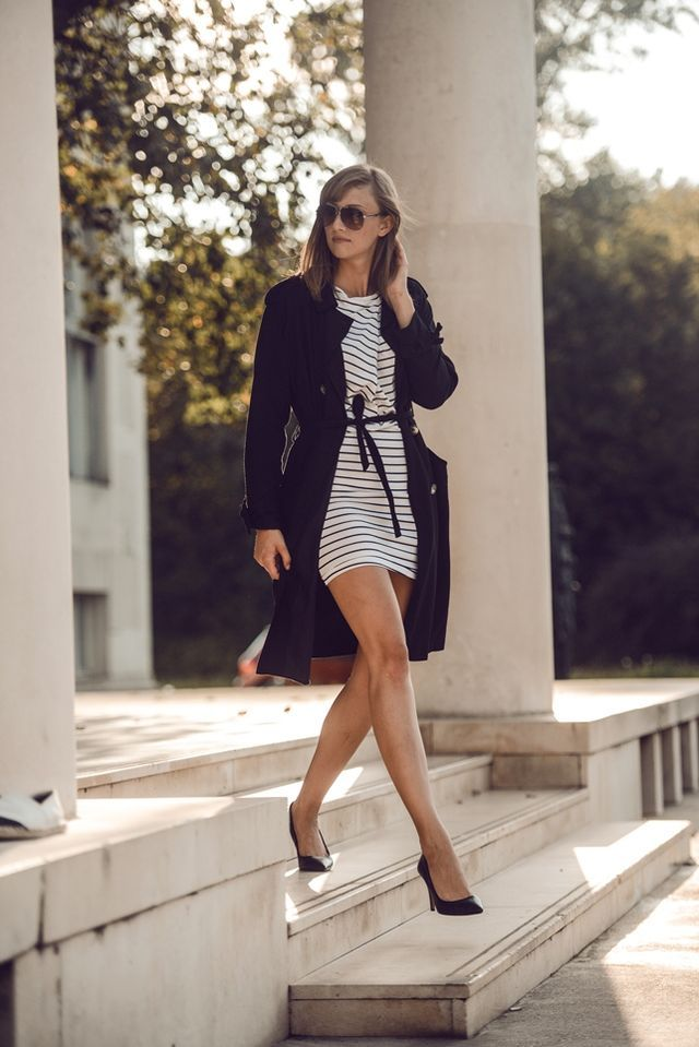 Striped dress & trench