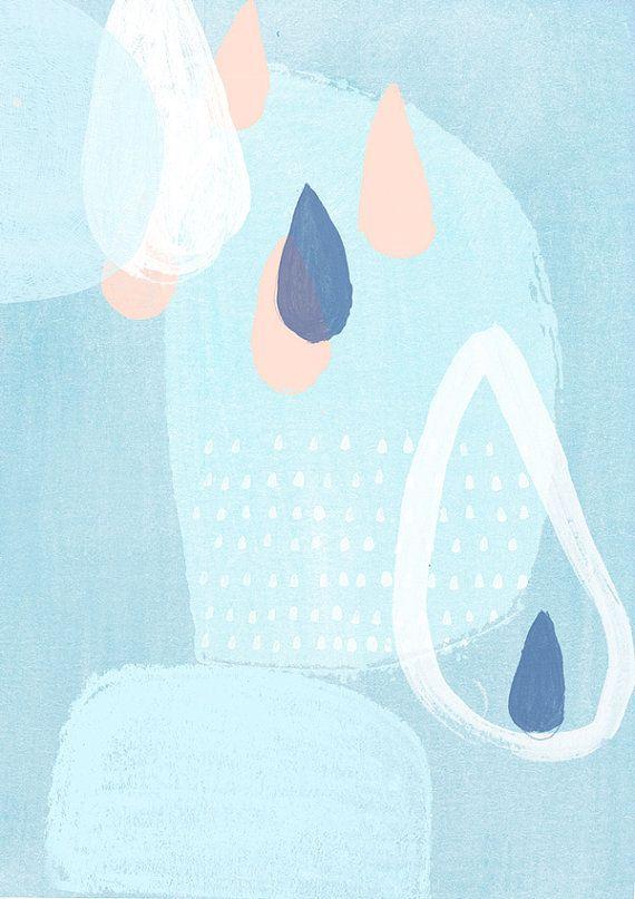 """A4 ou 8 x 10"""" Art imprimé, bleu doux et gouttes de pluie peinture, N° 62"""