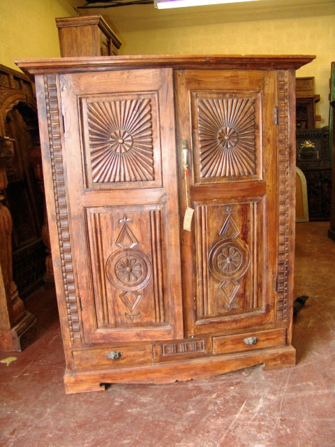 Antique Armoire Tv Cabinet Carved Rustic Chest India 66 $1279.00