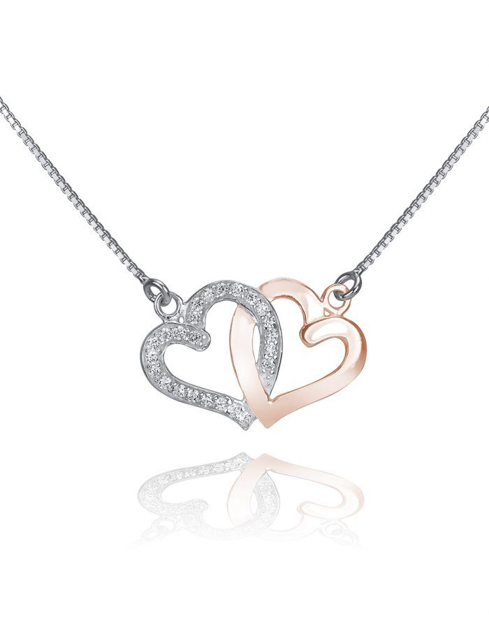 Gorgeous double heart sterling silver pendant from Vivah is a gift she'll cherish.