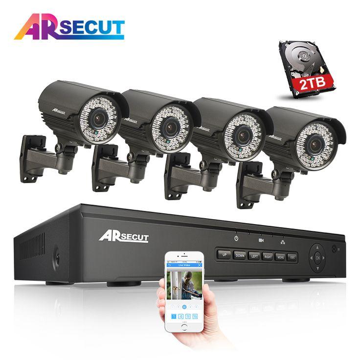 4CH NVR CCTV System 2TB HDD Onvif 1080P HD H.264 Varifocal 2.8mm-12mm Security Surveillance IP Camera POE CCTV Kit Email Alert #Affiliate