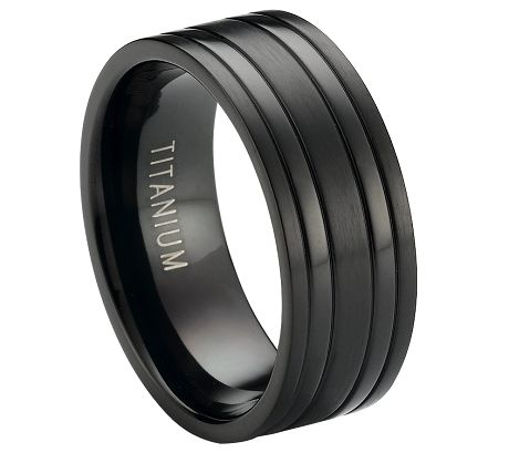 Black Titanium Wedding Band with Satin Finish and Polished Bands | 8mm - JT0171