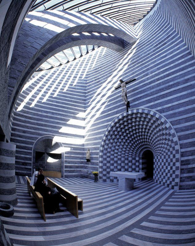 Giovanni Battista in Mogno ~ By Mario Botta ~ Overlay patterns constantly changing by shifting sunlight.