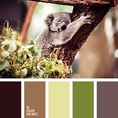amarillo claro, casi negro, color verde hierba, de color verde lechuga, marrón, marrón claro, marrón grisáceo, selección de la combinación de colores, tonos verdes, verde polvoriento.