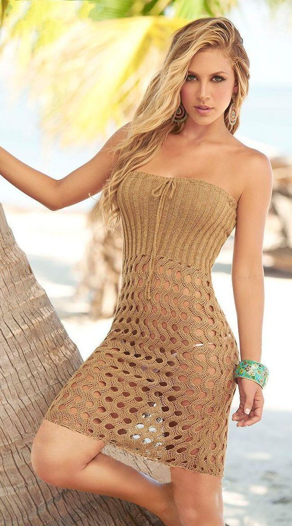 A Sweater Knitted Openwork Sexy Bikinis Cover Up Dress
