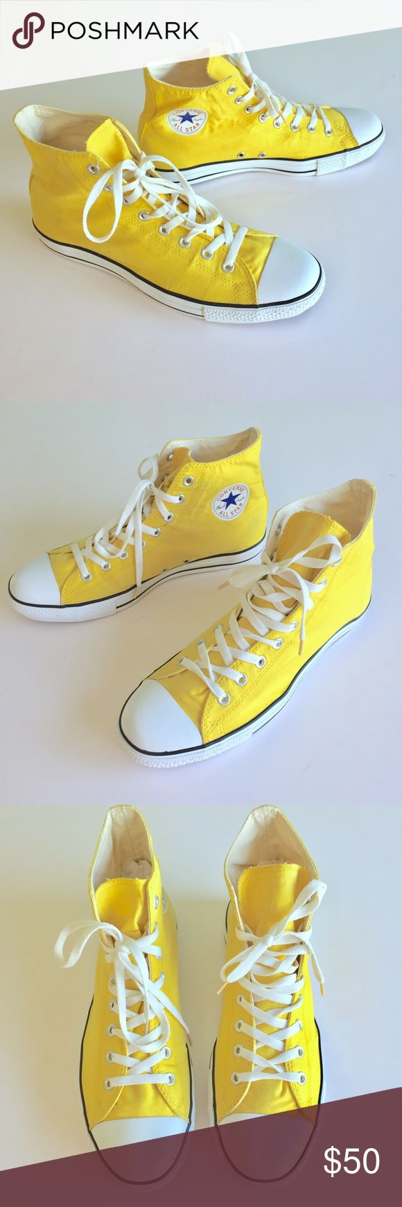 Yellow Converse All Star High Tops Chuck Taylor 12 Up for Sale gently worn yellow Converse All Star High Tops Mans size 12 and Women 14. Sneakers have little stain on one the thong of the shoe, may show slight discoloration on yellow canvas but it's very minor and barely noticeable, just disclosing that it is there. Check out my closet, bundle and give me your offer! Converse Shoes Sneakers