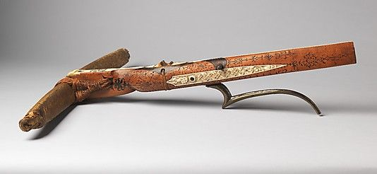 Probably the earliest dated crossbow––as well as one of the most beautiful examples of its kind––to survive from the 15th century, it is also the only crossbow of its period whose maker can be identified with reasonable certainty. The elaborate decoration consists of ivory panels carved with figures, inscriptions, and the arms of Count Ulrich V of Württemberg (1413–1480) and his third wife, Margaret of Savoy (1420–1479). The crossbow is dated around 1460.
