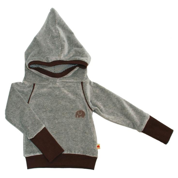 Hættetrøje - Velour - Birk - Grey/brown fra AlbaBaby
