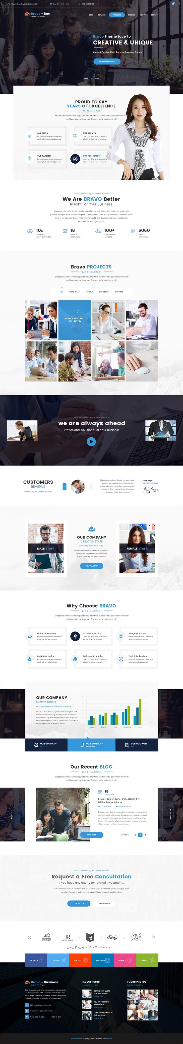Bravo is a multipurpose #PSD template with awesome collection of #webdesign 8 niches #Business, Consultancy, Restaurant, SEO, Construction, Architecture, SPA, Fashion Shop website with 66 organized PSD pages download now➩ https://themeforest.net/item/bravo-multipurpose-psd-template/17361644?ref=Datasata