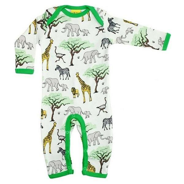 Langarmstrampler, helles grün/beige mit Tieren aus der Savanne