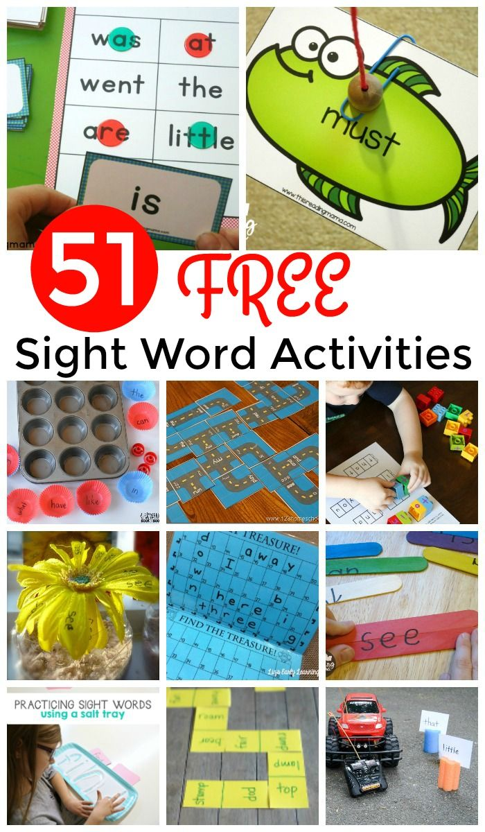51 FREE Sight Words Games and Activities to help preschool, prek, kindergarten, first grade, and 2nd grade kids practice reading.