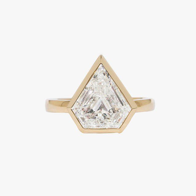 Azlee shield shape heptagon engagement ring, price upon request, for information: azleejewelry.com