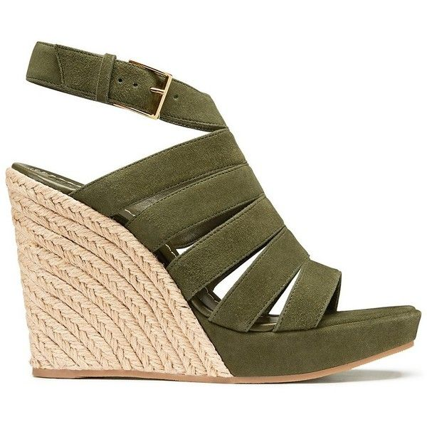 Tory Burch Bailey Multi-Strap Espadrilles Wedges ($358) ❤ liked on Polyvore featuring shoes, sandals, wedges, espadrille shoes, rubber sole sandals, wedge heel shoes, tory burch shoes and platform espadrille sandals