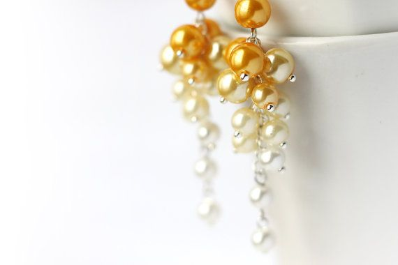 Fall Wedding, Ombre Yellow Bridesmaid Jewelry Pearl Cluster Long Earrings Gradient Color Transforming from Yellow to White