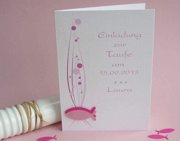 Einladungskarten - Einladung zur Taufe rosa / pink - ein Designerstück von karten-scrape bei DaWanda