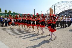 Milan Institute Martinitt e Stelline with majorette show at the EXPO 2015. Royalty Free Stock Images