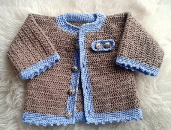 Crochet Baby Boy Cardigan in Brown and Blue by fromKikawithLove