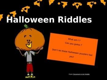 In this Halloween activity, students reveal clues one at a time to solve fun Halloween riddles.  Seven riddles in all, each on an individual slide, for an ready-to-use, interactive classroom activity.  FREE