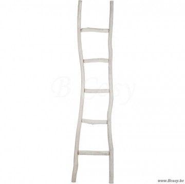 "J-Line Ladder ruw 5 treden hout white wash cm 180 <span style=""font-size: 0.01pt;"">Jline-by-Jolipa-58512-cottage-stijl-dekoratie-online-winkels-online</span>"