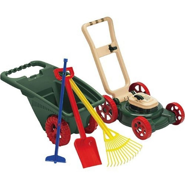 Kids Toddler Play Toy Lawn Mower Wheelbarrow Rake Outdoor Plastic Gardener  Set #AmericanPlasticToys