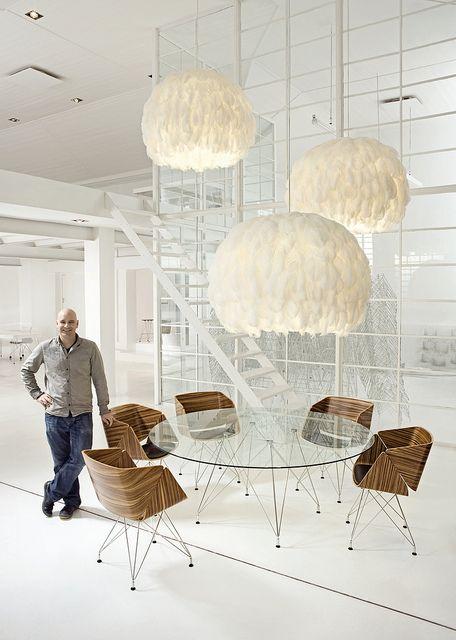 Haldane Martin Studio, Fiela Feather Chandeliers, Weightless Round glass Table, Weightless Tub Chairs, Designed by Haldane Martin,  Photo Inge Prins by HALDANE MARTIN, via Flickr