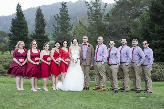 #49ers inspired #groom and #groomsmen with the #bride and #bridesmaids in #red #black #white #golden #brown #attire #color #palette . See the #sporty and #sartorial #wedding at our blog http://www.wellgroomedblog.com/2016/11/well-groomed-groom-49ers-inspired-groom.html