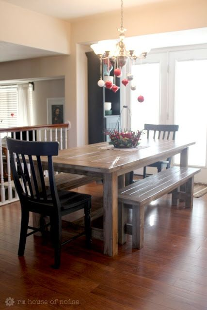 Kitchen Table With Benches. Darker Stained Top With White Accents.