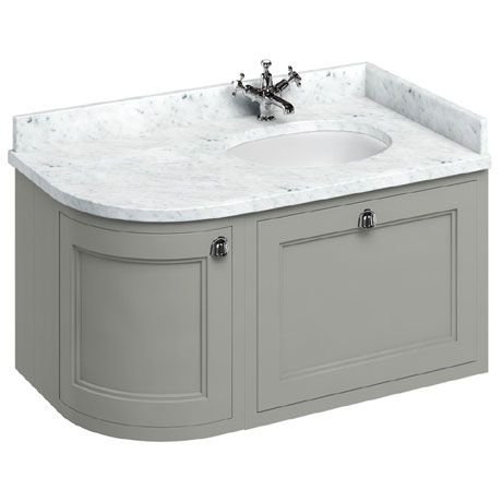 Burlington Wall Hung 100 Curved Corner Vanity Unit & Minerva Worktop with Basin (Dark Olive - Right