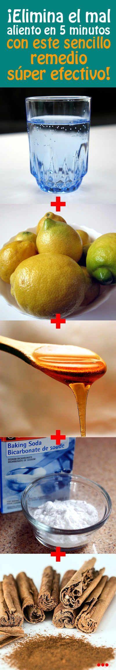 ¡Elimina el mal aliento en 5 minutos, con este sencillo remedio súper efectivo! Preparación y forma de uso:  - Mezclamos el jugo de limón junto con la canela y la miel en una botella.  (También puede usar bicarbonato si no tienes la miel). - Agregar una taza de agua tibia y agitar todo bien. - Para aplicar este remedio utilizaremos 1 o 2 cucharadas de este remedio para hacer gárgaras y escupir después de varios minutos.