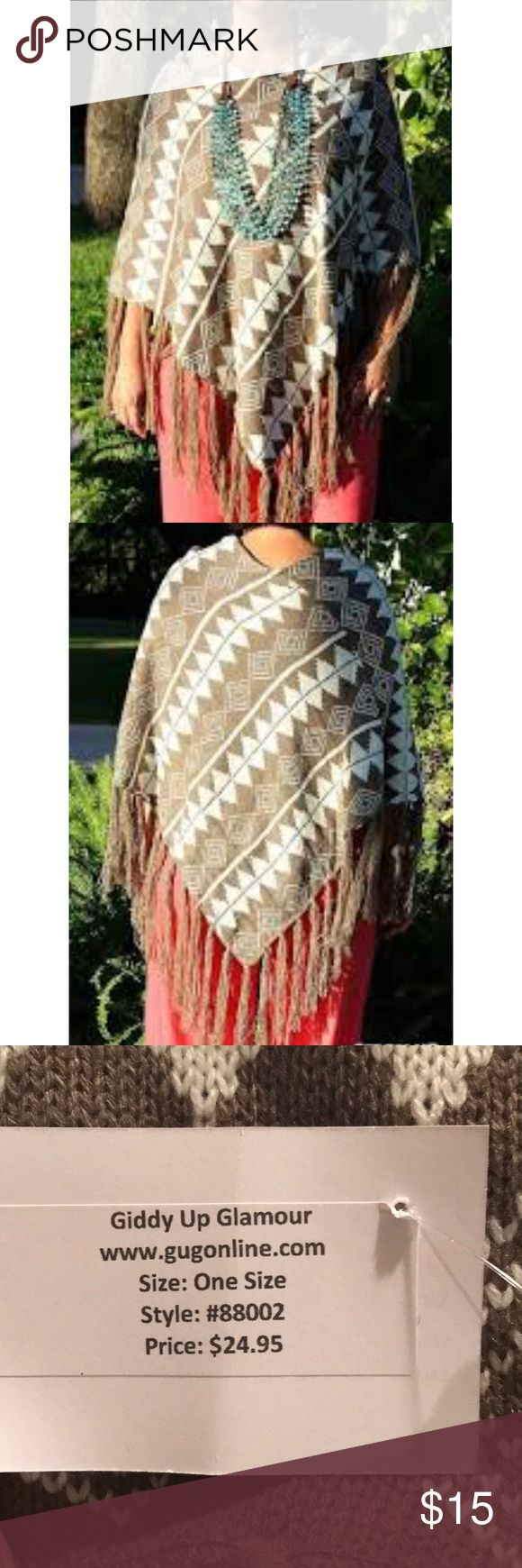 NWT Tan poncho NWT Aztec print tan and brown poncho Giddy Up Glamour Sweaters Shrugs & Ponchos