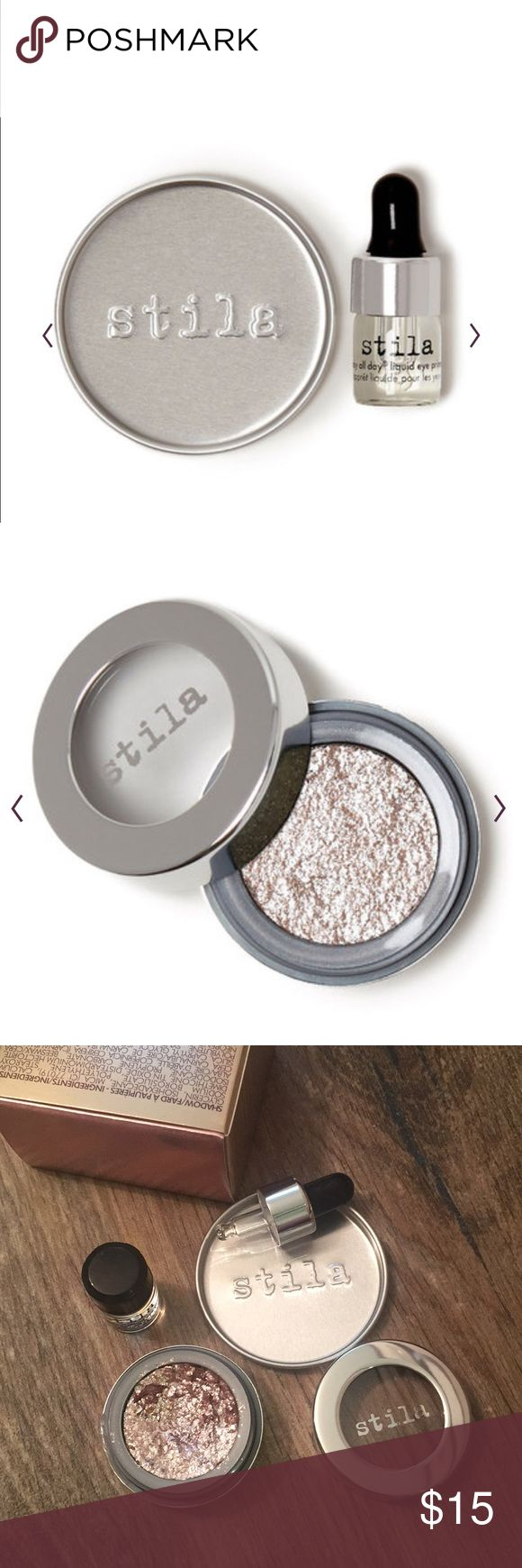 Stila Magnificent Metals Foil Finish Shadow Swatched once, never used. Create metal eyes that mesmerize with our Magnificent Metals Foil Finish Eye Shadow, a striking cream-to-powder shadow with a multidimensional metallic finish. Inspired by the runway, our one-of-a-kind formula is packed with rock-and-roll sparkle to achieve a variety of effects, from a light wash of shimmer to an opaque metallic finish. It also comes with a mini Stay All Day® Liquid Eye Primer & handy mixing tray. Shade…