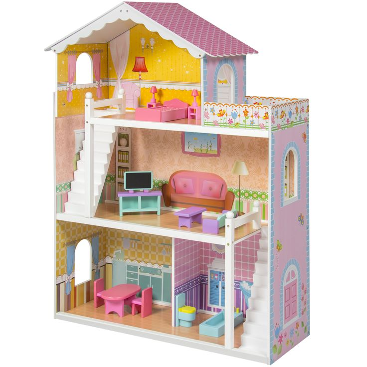 Large Children's Wooden Dollhouse Fits Barbie Doll House Pink With Furniture Price