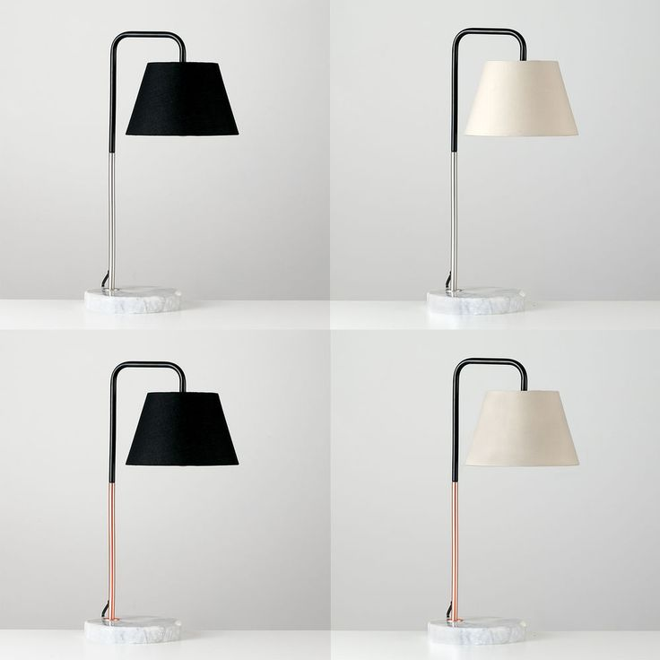 These stylish industrial inspired table lamps feature solid white marble bases with black curved metal neck and either copper or brushed chrome detail. We have paired these lamp bases with our fabric tapered shades in both black and cream to create a simply contemporary lamp which will make a great addition to any room of your home. | eBay!