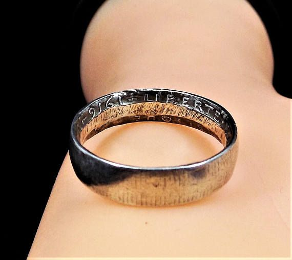 1916 Liberte Egalite Fraternite Coin Ring, WWI Trench Art, Vintage Sterling Silver Ring Size 9. 6mm wide Inside this band are the words from the 1916 Two Franc French coin of Liberte Egalite Fraternite, O.rty, and 1916, Liberty, Equality, Fraternity or brotherhood, is the national