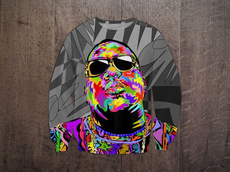 Wear your rap love wherever you go with this fully sublimated Biggie Shades Sweatshirt! This all-over-print jumper features Biggie Smalls, one of the most influential rappers of all time, rendered in Technodrome1's signature pop art style! Get yours today, at Mr.TeeShirts! #mrteeshirts #sweatshirt #customdesign #biggie #notoriousbig #biggiesmalls #gangstarap #sublimated